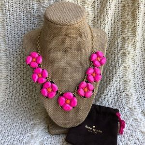 Kate Spade Pink Mod Floral Posey Gold Necklace